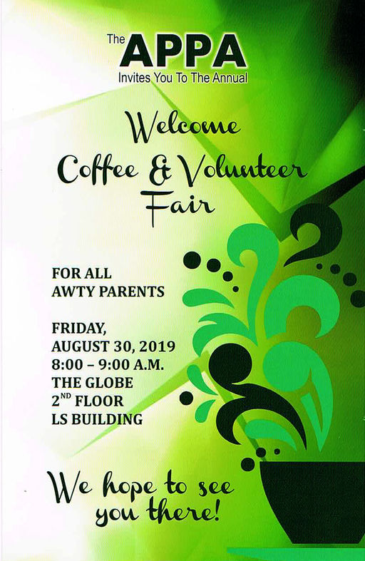APPA Welcome Coffee & Volunteer Fair this Friday!