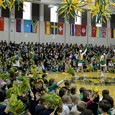 school spirit is big at awty with students getting together in the gym for a pep rally